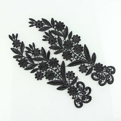1 Pair Vintage Style Polyester Embroidery Flowers Lace Applique Sew Crafts