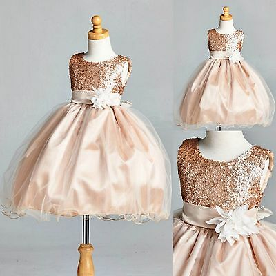 Champagne Sequence Flower Girl Dress Wedding Holiday Recital Fall Christmas #18