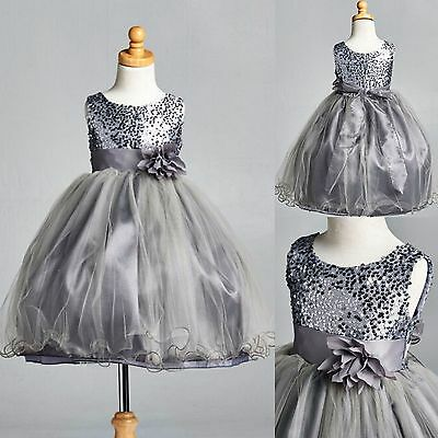Charcoal Sequence Dress Fishing Line Flower Girl Pageant Holiday Wedding #18