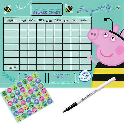 Peppa pig reusable landscape potty training Reward chart with stickers & pen