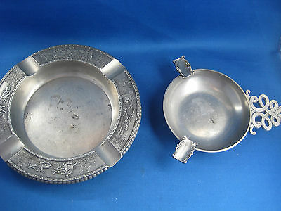 Lot of 2  Antique German Embossed & Engraved  Pewter Ashtrays Very Nice
