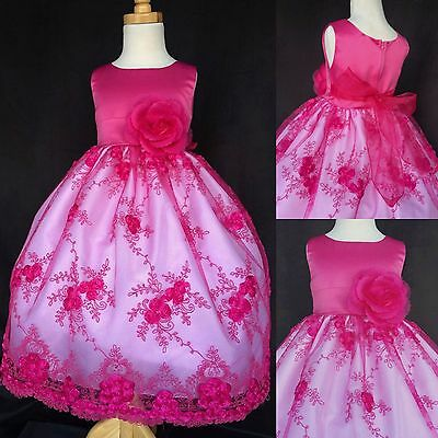 Fuchsia Floral Embroidery Dress Birthday Pageant Holiday Easter Wedding #012