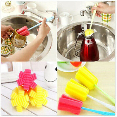 Yellow Cup Cleaning Baby Milk Feeding Bottle Clean Sponge Brush Kitchen Tool 1pc