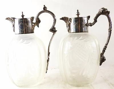 Pair Antique Silver Plate & Hand Cut Glass Claret Jugs Ewers Pitchers