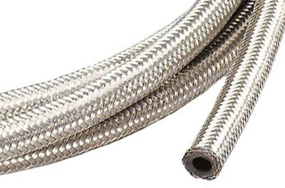 "Stainless Steel Braided Hose Oil/Fuel Line 1/4"" I.D. 4 Feet Long"