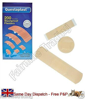 200 Washproof Assorted Plasters First Aid Bandaid Non Stick Flexible Padded