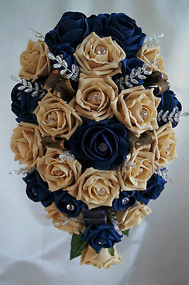 BRIDES TEARDROP BOUQUET , French Navy/Light Gold