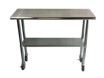 Stainless Steel Work Prep Table with 4 casters (wheels) - 24 x 72