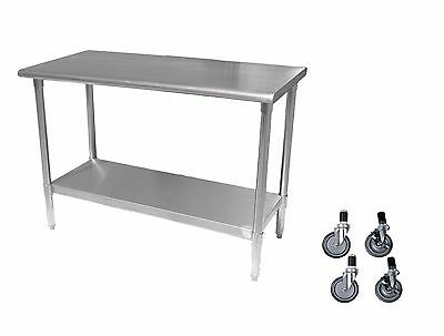 Stainless Steel Work Prep Table with 4 casters (wheels) - 24 x 48