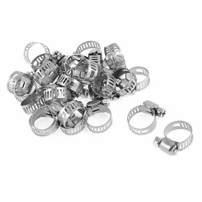 9-16mm Range Silver Tone Metal Drive Hose Clamp for Water Pipe 25 Pcs