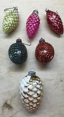 6  Vintage  Pine cone Christmas Tree Glass Ornaments Snow Frosted JAPAN U.S.A.