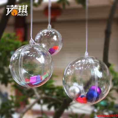 Clear PLASTIC CRAFT Balls & Hearts - 2-part Spheres Baubles Favours Wedding Xmas