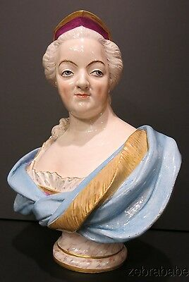 "Meissen Large Bust 12"" Figurine of Lady 18th Century"