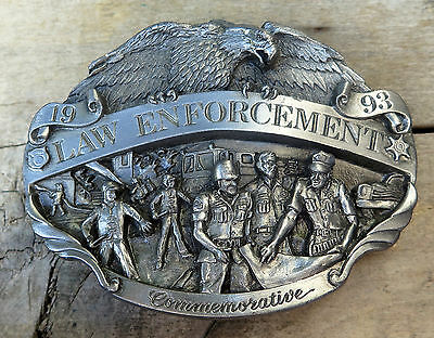 Law Enforcement Cops Police 1993 Commemorative 1990's Vintage Belt Buckle