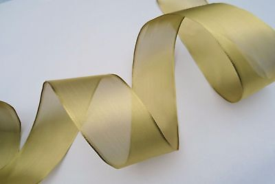 1M 2M 5M X 63MM Wire Edge Sparkly Metalic Gold Ribbon Christmas Wedding Party