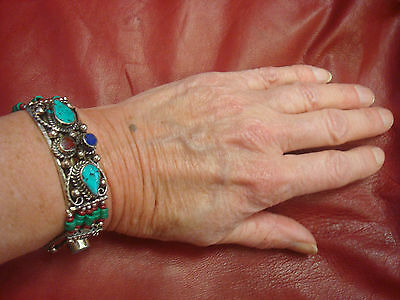 Pretty ethnic bracelet.Silver turquoise red blue green ethnic Afghan jewellery.