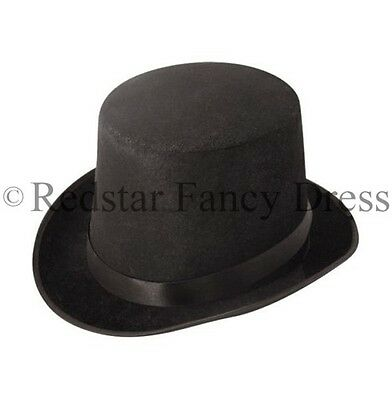 Black Victorian Top Hat Fancy Dress Magician Ringmaster Hat 1920S 30S
