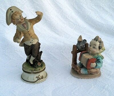 Lot of 2 VINTAGE boys playing CERAMIC FIGURE BOY Collectible Figurine