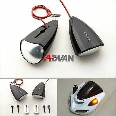 Black Custom LED Mirrors Turn Signals Fit Suzuki GSXR1000 2007-2008 A
