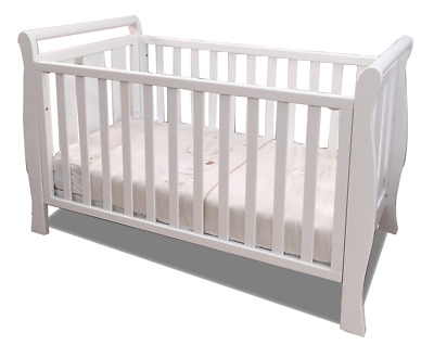 NEW  3 IN 1 SLEIGH COT CRIB WHITE JUNIOR  baby BED with inner spring mattress
