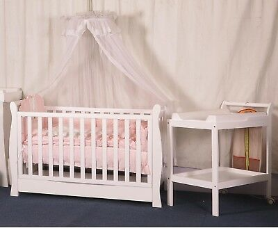 New  3 In 1 Sleigh Cot With Innerspring Mattress  Change Table Pad Package A