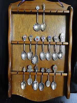 Wood Rack w/ 15 Collectible 'State & Travel' Spoons - 10 1/2 X 18, 3 silverplate