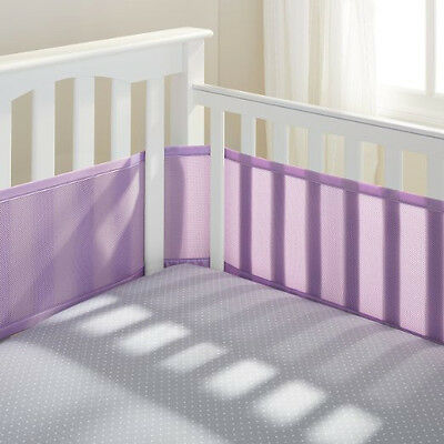 Breathable Mesh Bumper Crib Liner Baby Bedding Washable Hypoallergenic Purple