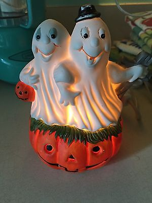 Vtg 80s Halloween Ghosts JOL Light Cute Jack o Lantern Pumpkin Electric Lamp