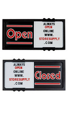 "Plastic Horizontal Black Open/Closed Sliding Sign Board 20""W x 10""H x ¾"" Thick"