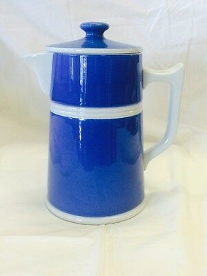 Antique Australian Pottery R Fowler Ware Limited Coffee Pot 2 Part Solid Blue