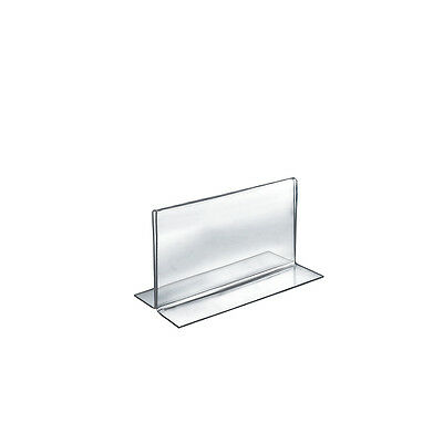 "Count of 10 Clear 2-Sided Double-Foot Acrylic Horizontal Sign Holder 7""W x 5""H"