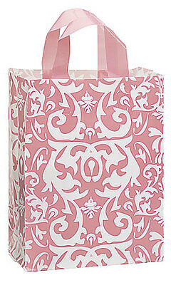 "Count of 100 Medium Pink Damask Frosted Plastic Shopping Bag 8"" x 5"" x 10"""