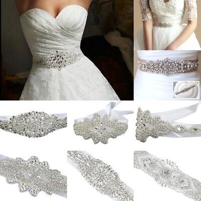 Bridal Wedding Dress Glass Rhinestone Vintage Beaded Crystal Sash Belt Ribbon