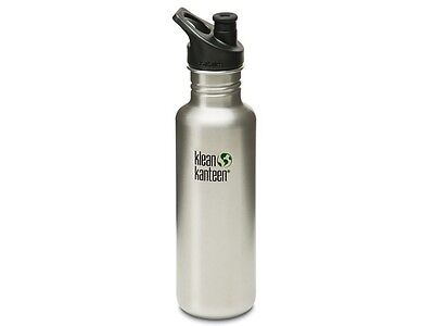 Klean Kanteen Classic 800Ml Water Bottle With Sport Cap (Brush Stainless)