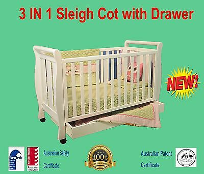 3 IN 1 Sleigh Cot with Drawer& Wheel TIMBER WOOD BABY CRIB TODDLE BED  white
