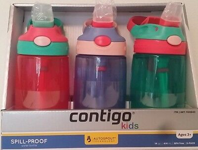 3x Contigo Kids Travel Autospout Water Bottle Leak Spill Proof 414mL BPA FREE #2