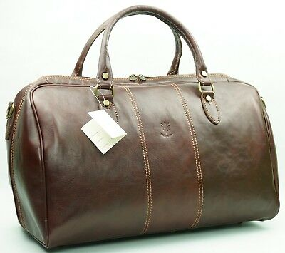 Genuine Italian Leather Duffle Weekend Travel Gym Overnight Bag Luggage Holdall