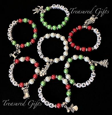 Personalised Christmas Child Adult Name Bracelet Charm, Red, Green Party Favour