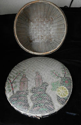 Antique Handmade Asian Basket With Lid~Hand Woven~ Color Scene~Square Footing