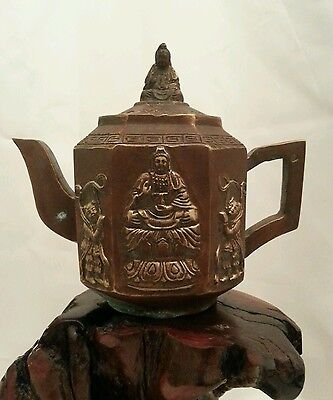 Vintage Copper Chinese Tea Pot Marked Wang-Yulan