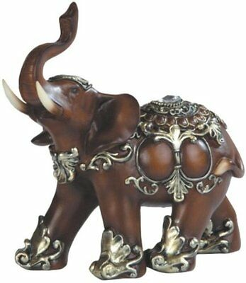 Thai Trunk Up Good Fortune & Luck Elephant Wood Look Collectible Statue Figurine