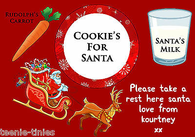 Cookie's & Milk For Santa A4 Laminated Table Placmat 210 x 297mm - ADD YOUR NAME