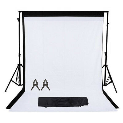 Phot-R Photo Studio Black White Backdrop Chroma Key Screen Background Kit Stand