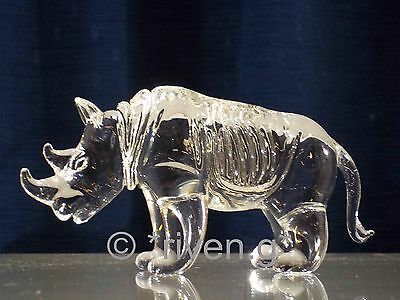 RHINO Figurine@CRYSTAL Glass BEAST@UNIQUE Collectable Gift@Wild Jungle Animal