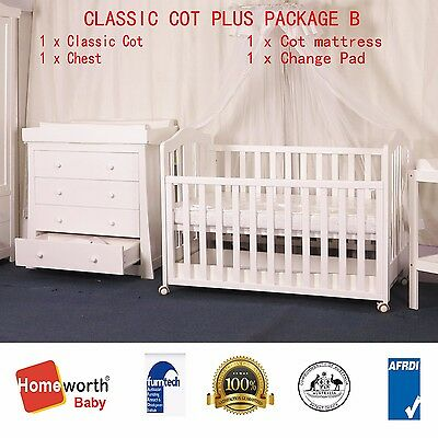 NEW 3 IN 1 classic cot & mattress and chest with changer top & pad crib baby bed