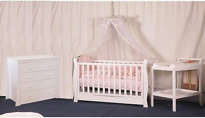 3 IN 1 Sleigh Cot Change table Chest Mattress Pad Baby Bed Crib Package white