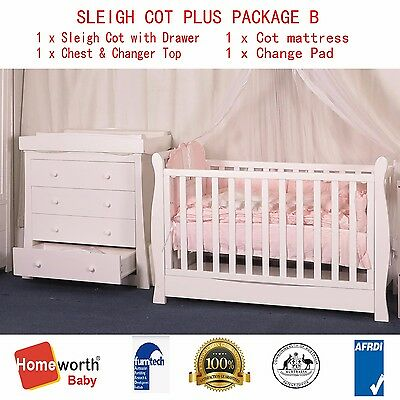 NEW 3 IN 1 SLEIGH COT & DRAWER & MATTRESS &chest & Changer Top PACKAGE