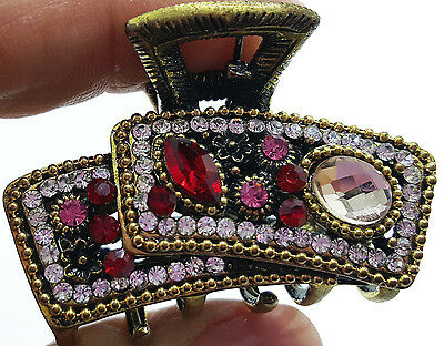 New Ruby Red  Crystal Rhinestone Antique Gold  1 1/2'' Hair Claw Clip