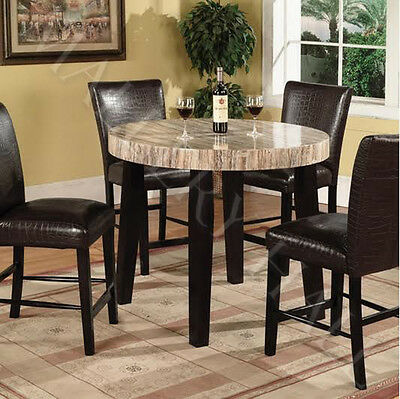 5 Piece Faux-Marble Round Counter Height Dining Set 4 Leather Chairs Brown