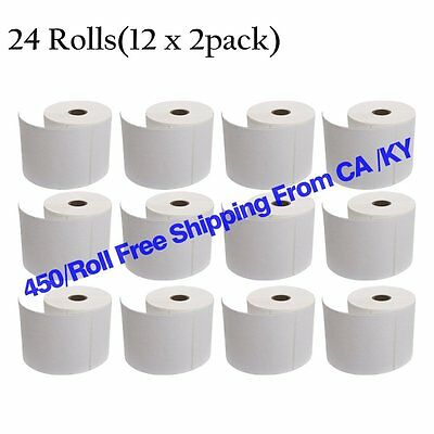 24 Rolls 450/Roll Direct Thermal Shipping Labels 4x6 For Zebra Eltron 2844 ZP450